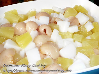 Almond Jelly, Lychee and Pineapple