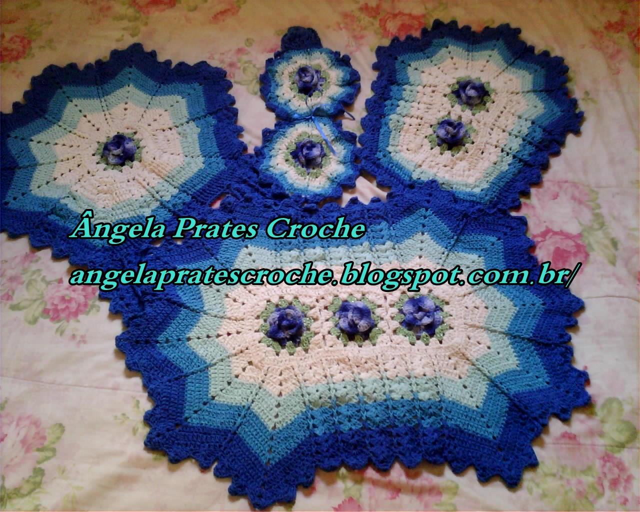 Jogo De Banheiro Azul Em Croche : ?ngela prates croche jogo de banheiro pe?as em tons azul