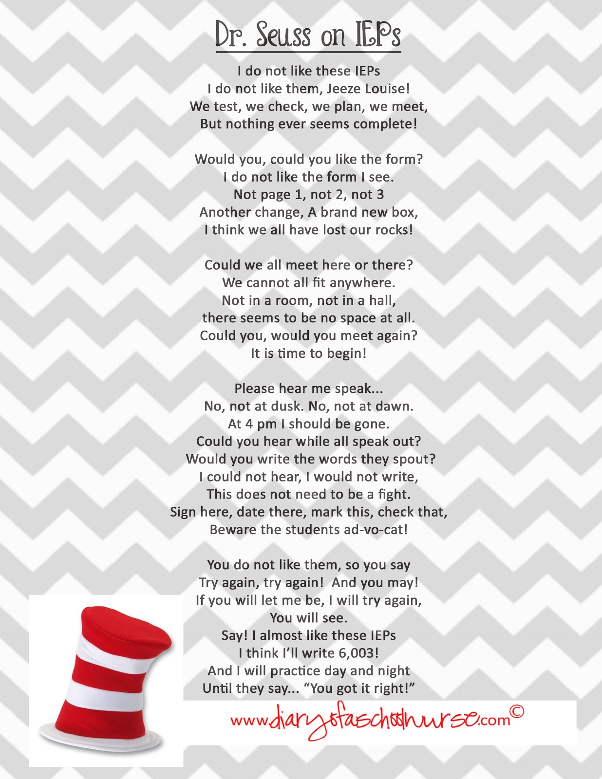 Diary Of A School Nurse: Dr. Seuss .... free printable poem