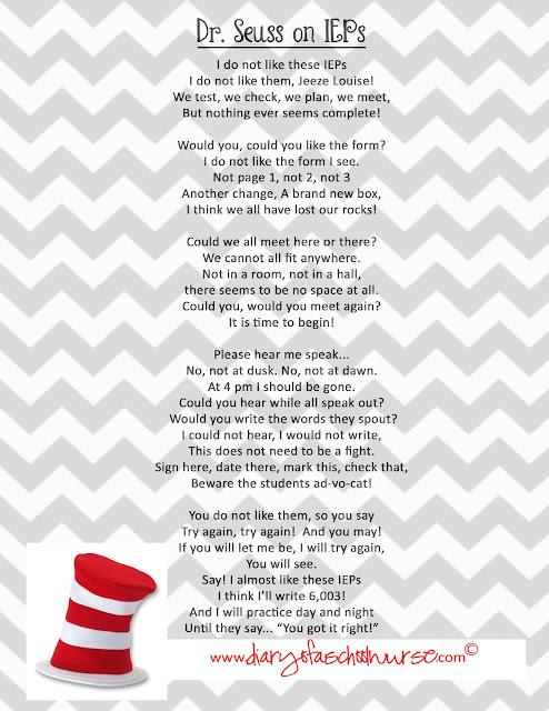 Diary Of A School Nurse: Dr. Seuss .... free printable poem