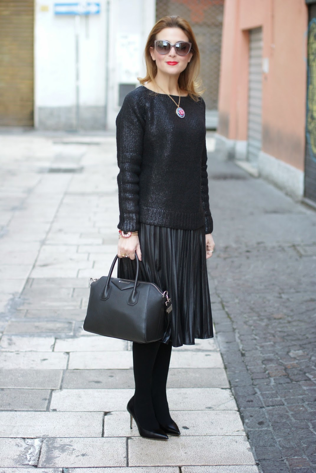 Black metallic finish sweater, faux leather pleated midi skirt, givenchy antigona bag, black on black look, Fashion and Cookies, fashion blogger