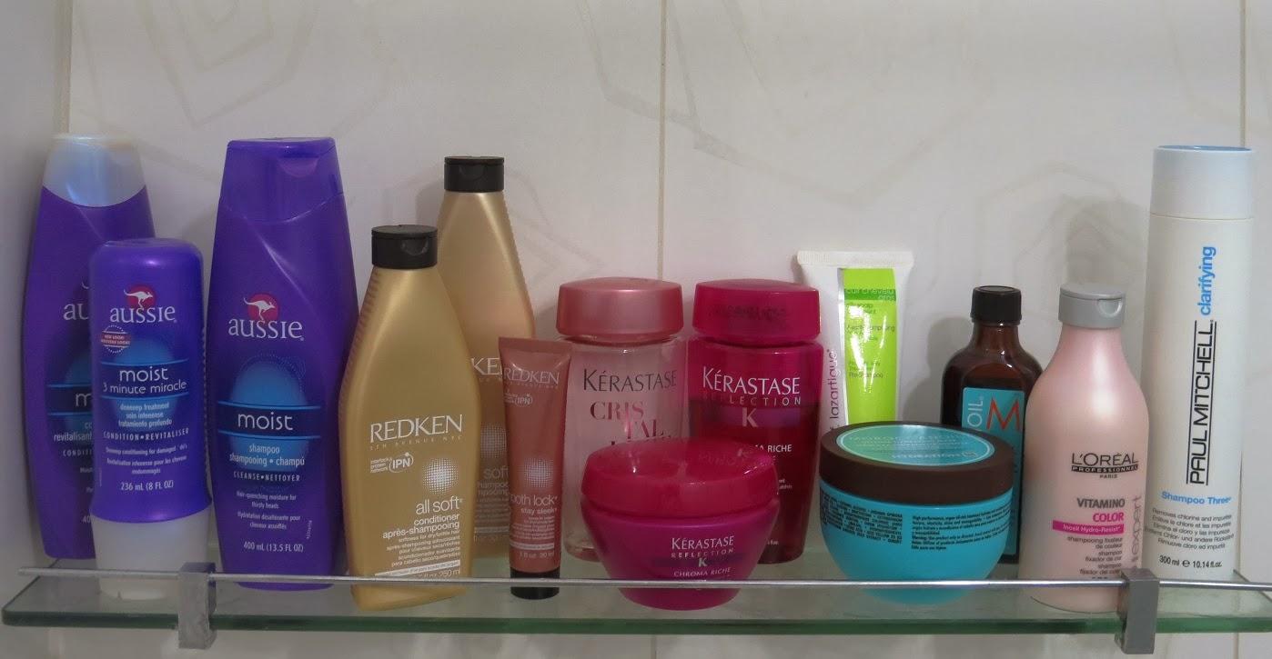 Shampoos e condicionadores Aussie, Redken e Kerastase para tratamentos de cabelo