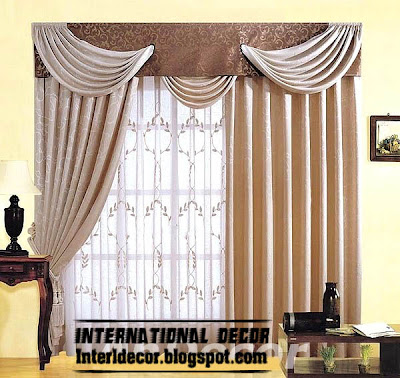 best curtains models 2015, cream scarf curtain with brown valance model