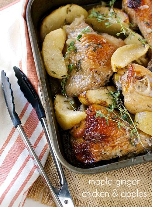 healthy and easy maple ginger chicken and apples