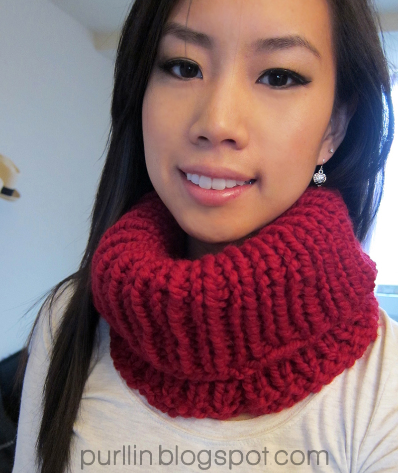 Purllin: Quick Knit Cowl Neck Warmer free knitting pattern