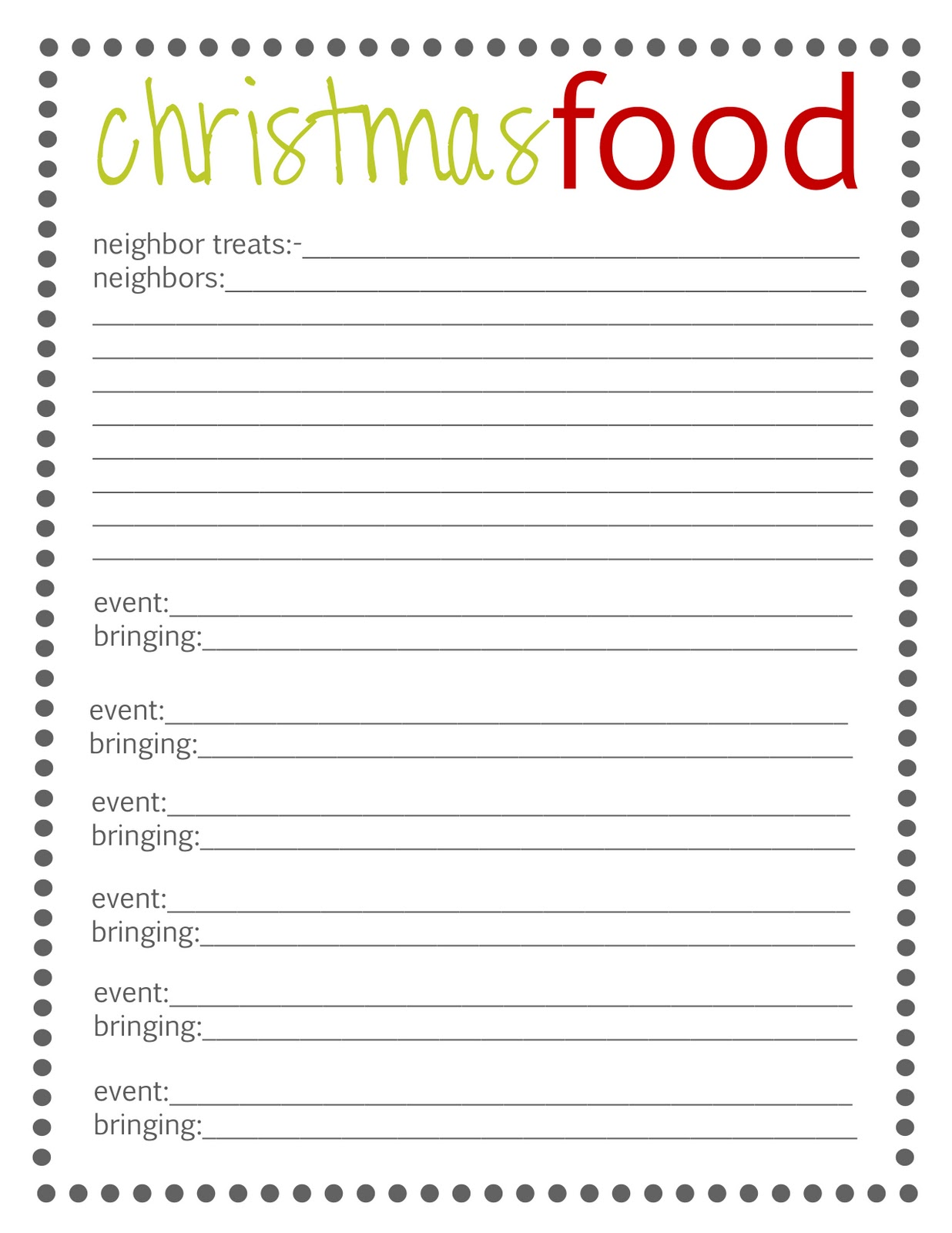 Planning Christmas 2012 {Free Printables}  Christmas Dinner Shopping List Template