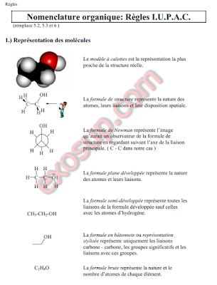 cours Nomenclature organique Règles IUPAC