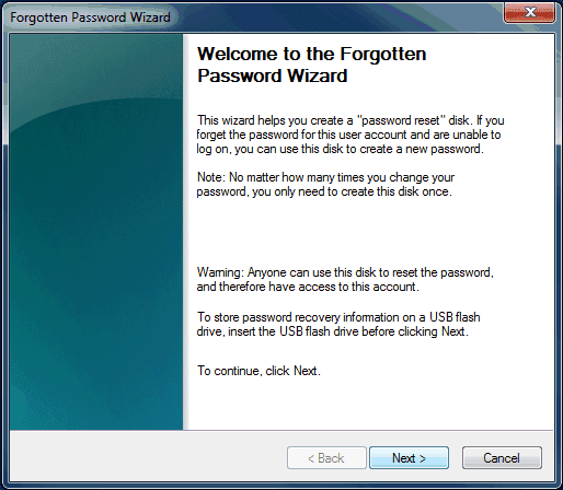 Windows Forgotten Password Wizard step 1