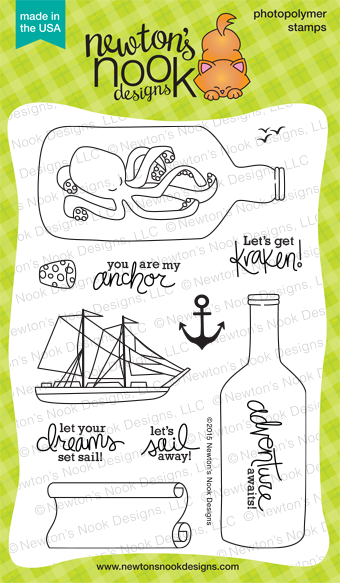 Message in a Bottle photopolymer nautical stamp set | Newton's Nook Designs