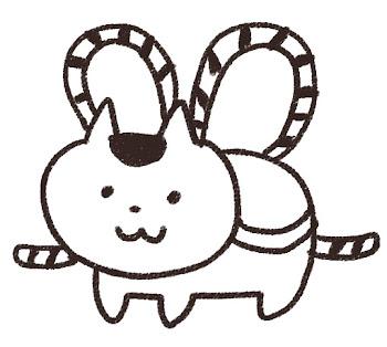 張子の犬のイラスト(お正月) 線画