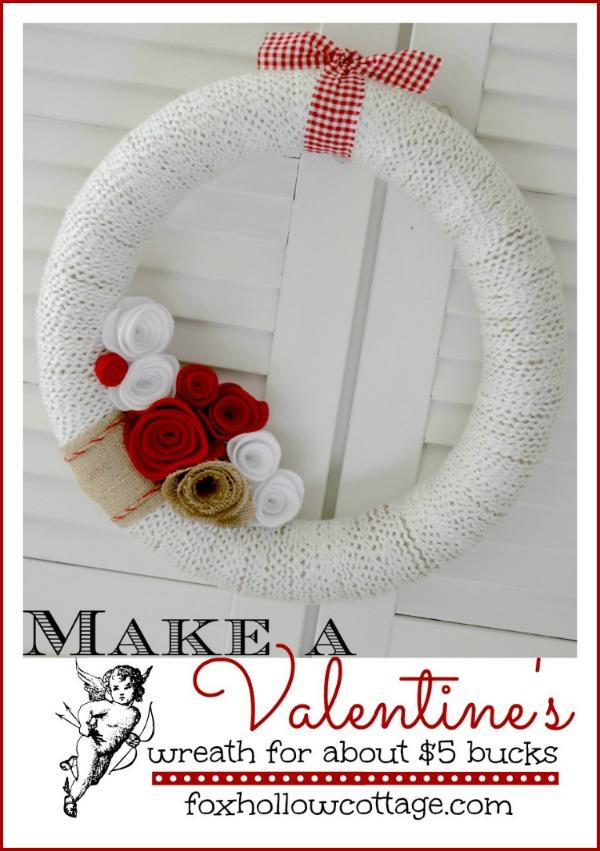 Make a 5 valentine s day wreath w burlap and yarn fox hollow