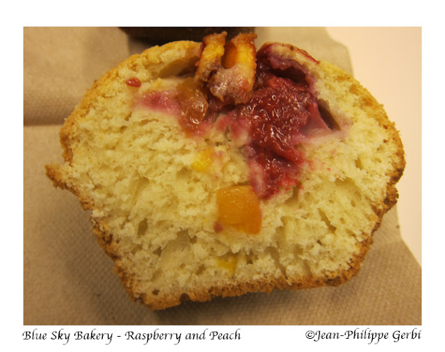 Image of Peach and Raspberry muffin at Blue Sky Bakery in Brooklyn, New York