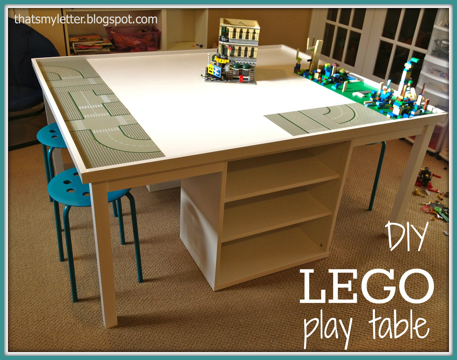 giant lego play table space designed for storage and seating area: