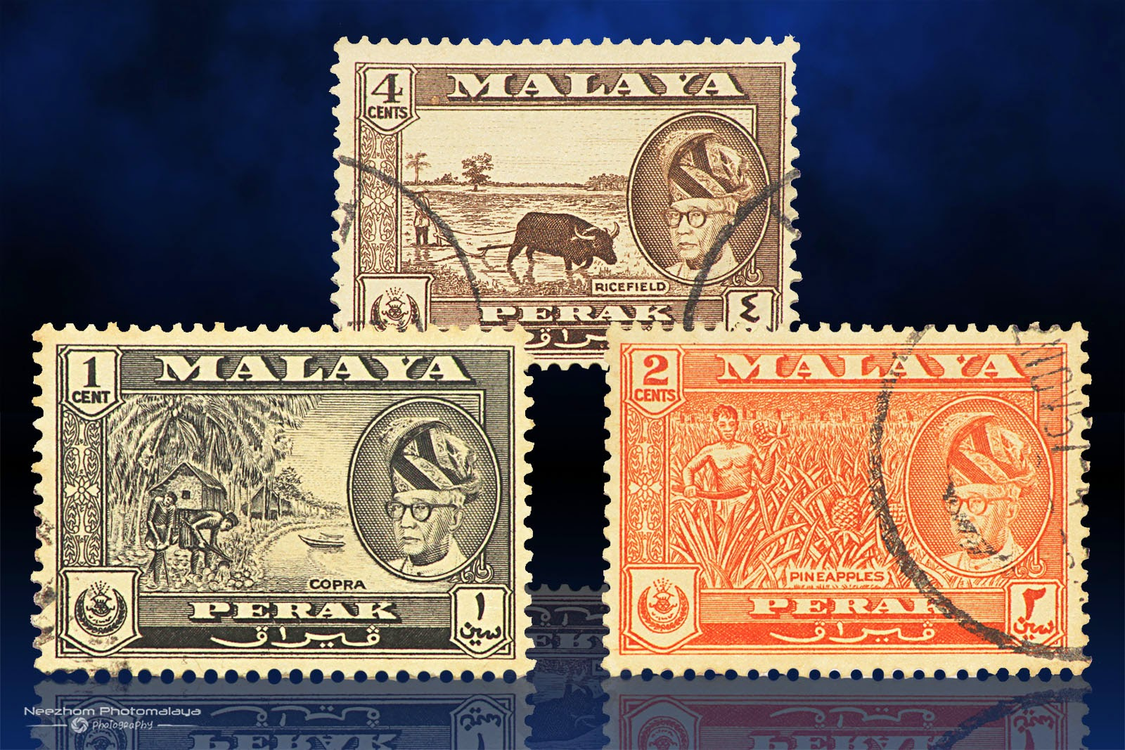 Malaya  1957 - 1961 stamps 1 Cent, 2 Cents, 4 Cents