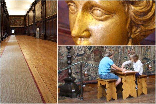 Larga sala de pinturas, Escultura, Ninos jugando a un juego de mesa en el Palacio de Hampton Court, Londres