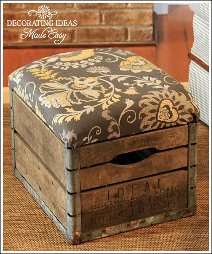 Diy suitcase chair - I Love That Junk Old Crate Ottoman Decorating Ideas