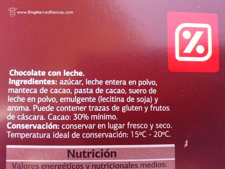 Ingredientes del chocolate con leche DIA.