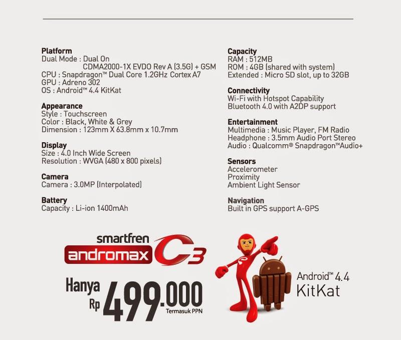 Spesifikasi dan Harga Smartfren Andromax C3 terbaru | Kitkat Rasa JB!
