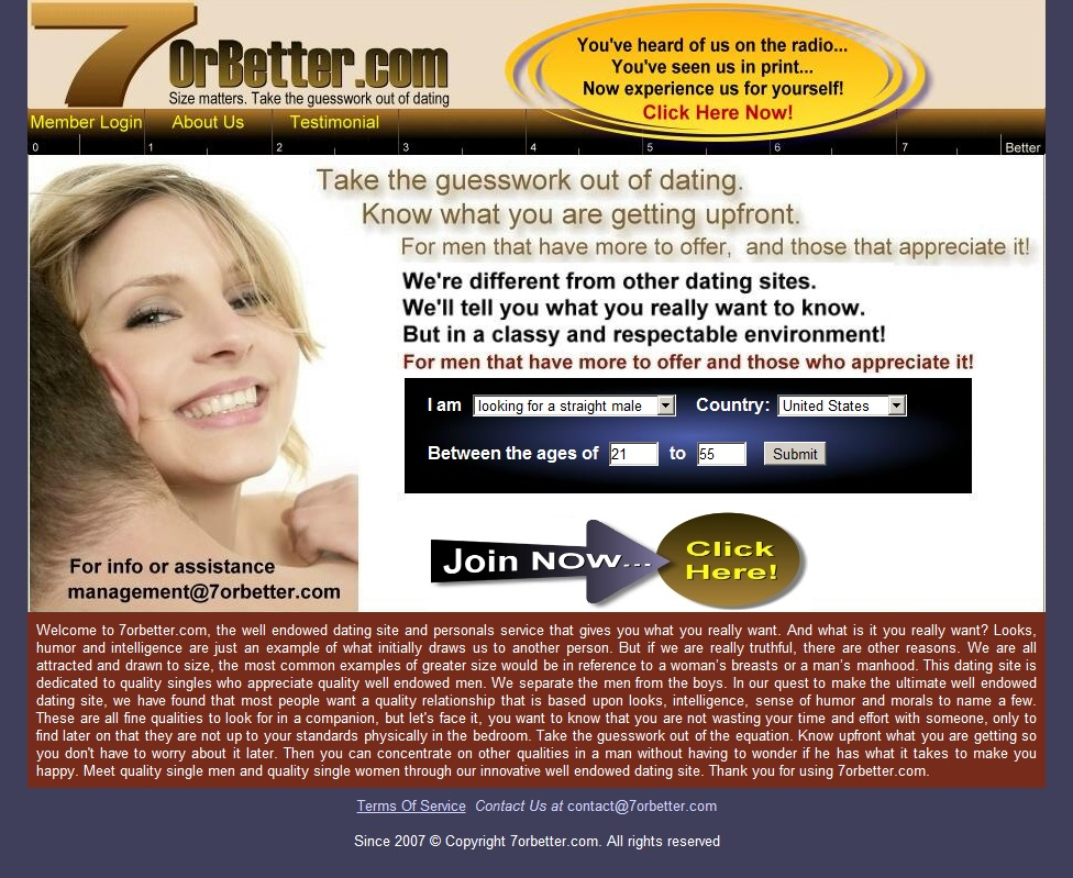 7orbetter dating Check if 7orbettercom is a scam website or a legit website is 7orbettercom fraudulent or infected with malware, phishing, fraud, scam and spam activity use our free trust and review checker.