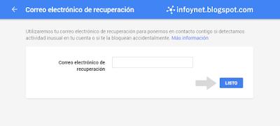 Establecer correo electrónico de recuperación de una cuenta de Google