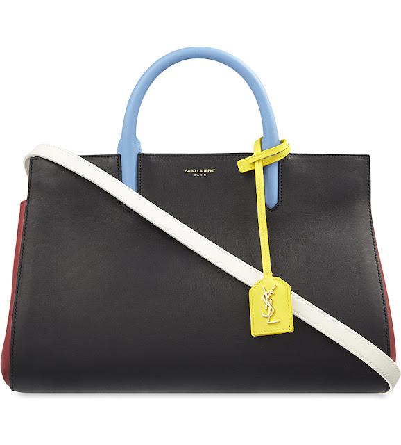 ysl black white yellow bag, saint laurent cabas rive gauche bag,saint laurent black blue  yellow bag,