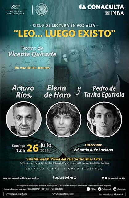"""El ciclo """"Leo... luego existo"""" presenta la obra de Vicente Quirarte"""