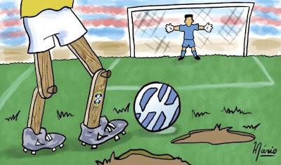 O Brasil vai mal Até mesmo No futebol Orgulho nacional Hoje jogado Por um sem igual Bando de pernas de pau.