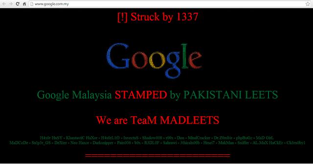 HACKER ATIVISMO AÇÃO DIRETA VIRTUAL: Grupo de hacker TeaM MADLEETS Invade Google da Malasya, Ato feito por hackers Paquistaneses.