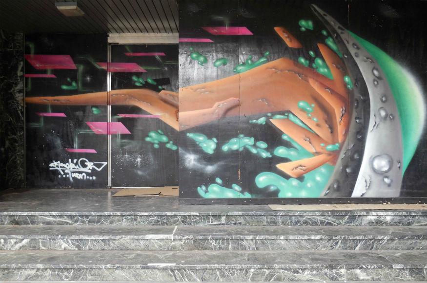 black and green street art