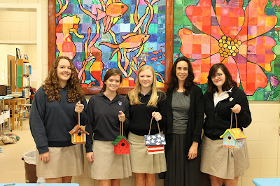 Montgomery Catholic Art Students Paint Bird Houses for Family Sunshine Center 2