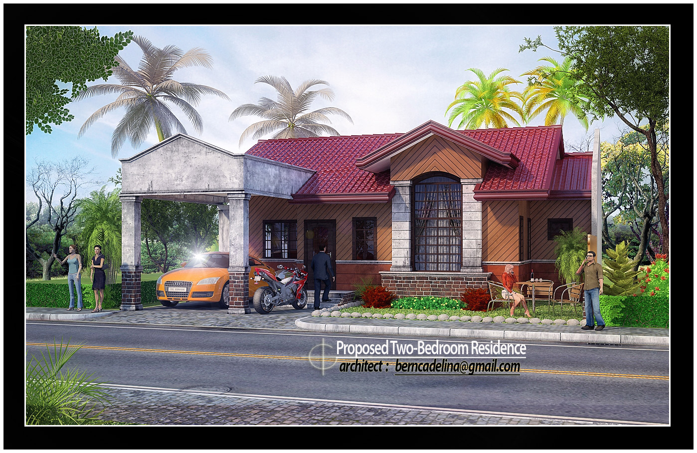 This Bungalow house design is generated from 3d studio max software