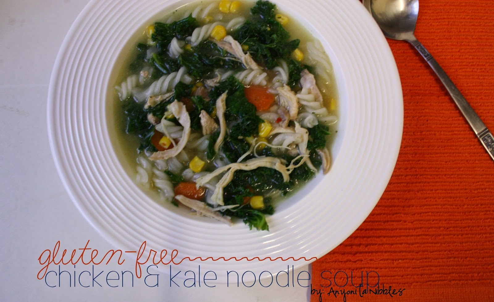 Gluten Free Chicken & Kale Noodle Soup | Anyonita Nibbles | I love that she uses rice noodles, fresh kale and shows you how to make your own super easy chicken stock!