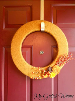 Yarn Wrapped Felt Flower Wreath