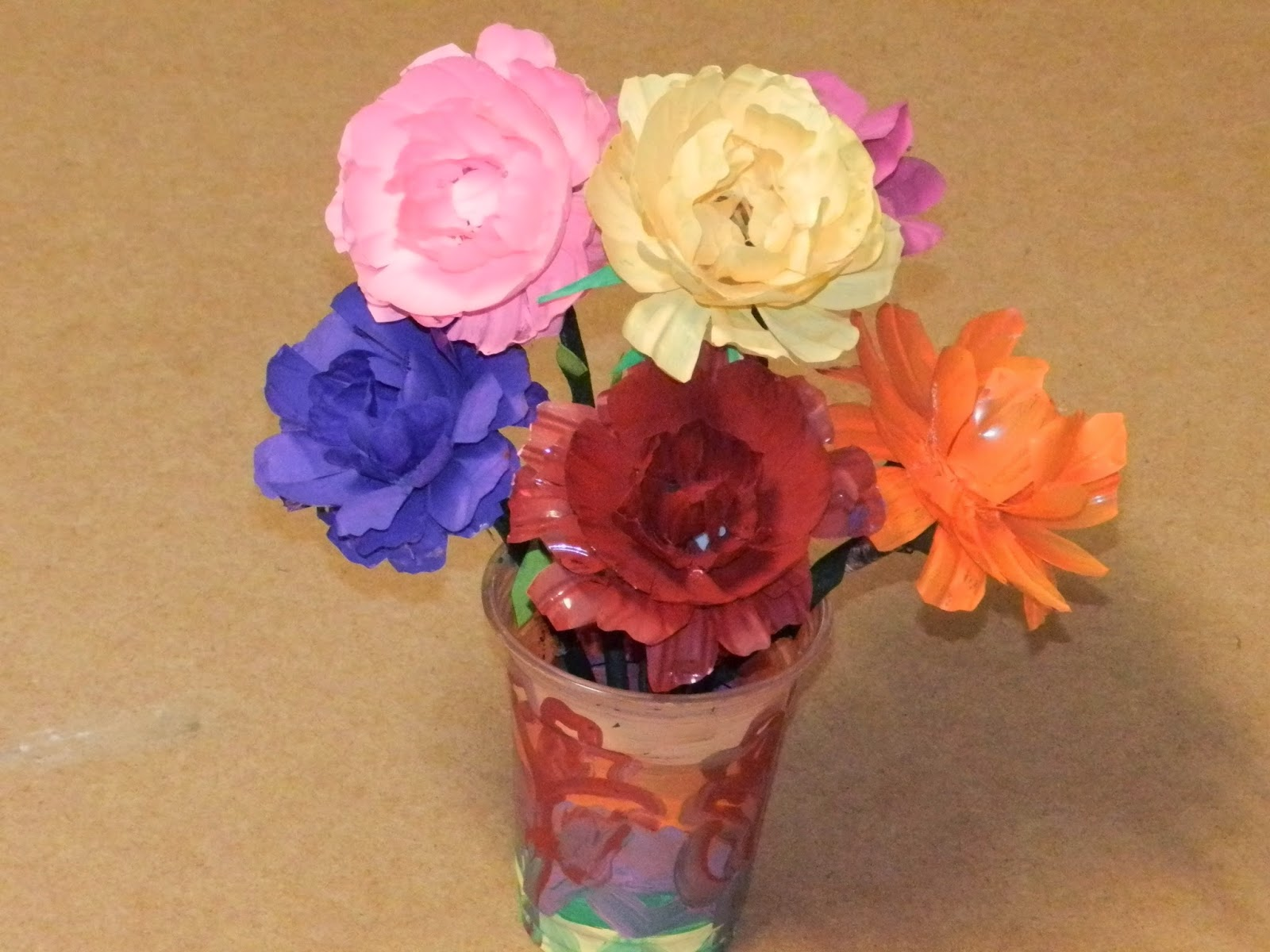 recycle diy flowers with waste water bottles tafreeh