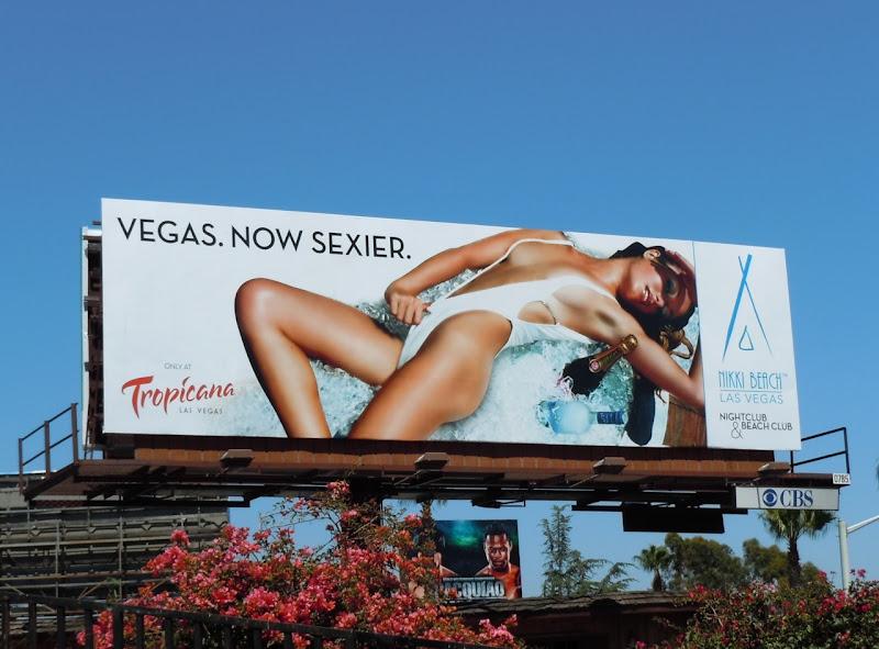 Nikki Beach Vegas swimsuit model billboard