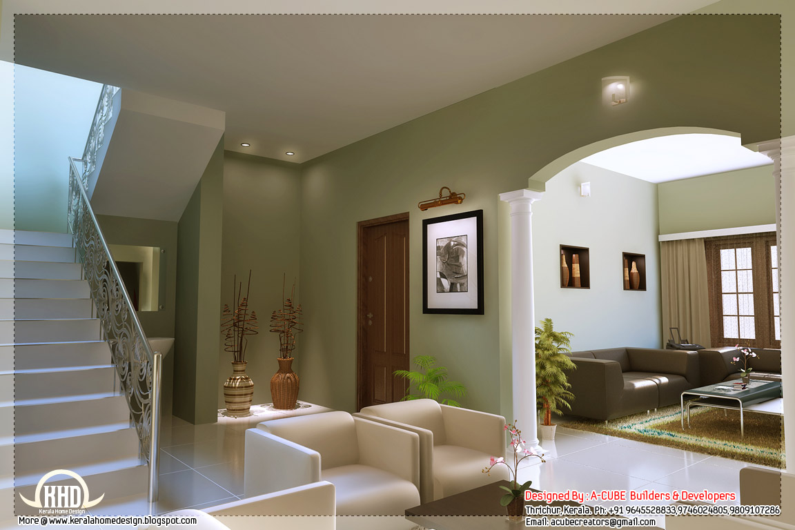 Kerala style home interior designs indian house plans for Drawing room interior