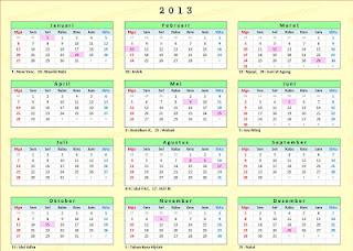 Kalender Tahun 2013 terbaru