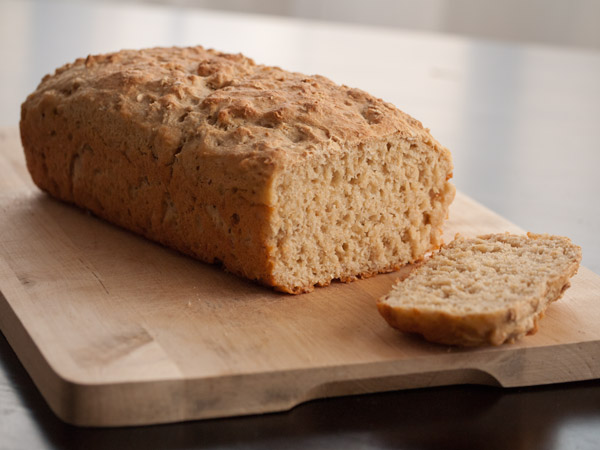 Hot loaf of quick and easy honey-oat bread