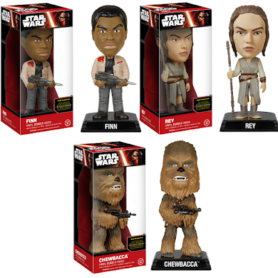 Star Wars The Force Awakens Wacky Wobbler Bobble Heads Series 1 by Funko - Finn, Rey & Chewbacca