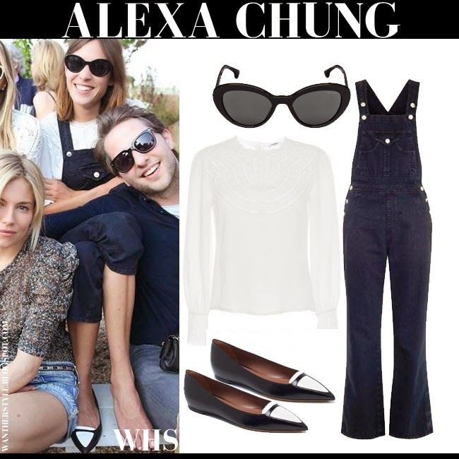 Alexa Chung in white blouse, blue denim overalls AC for AG Tennessee and two-tone flats Tabitha Simmons Alexa may 3 what she wore chic spring fashion