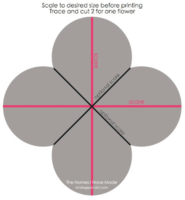 Paper Flower Pattern Cut Out 2) score your flower.