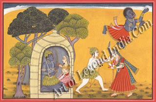 Rama comforts Sita during the forest exile and Lakshmana cutting off Surpanakha's nose