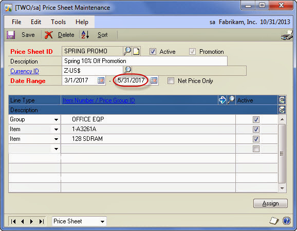 extended pricing which price sheet rules microsoft dynamics gp