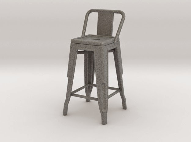 Modern dolls house miniature high Pauchard stool with low back, in grey.