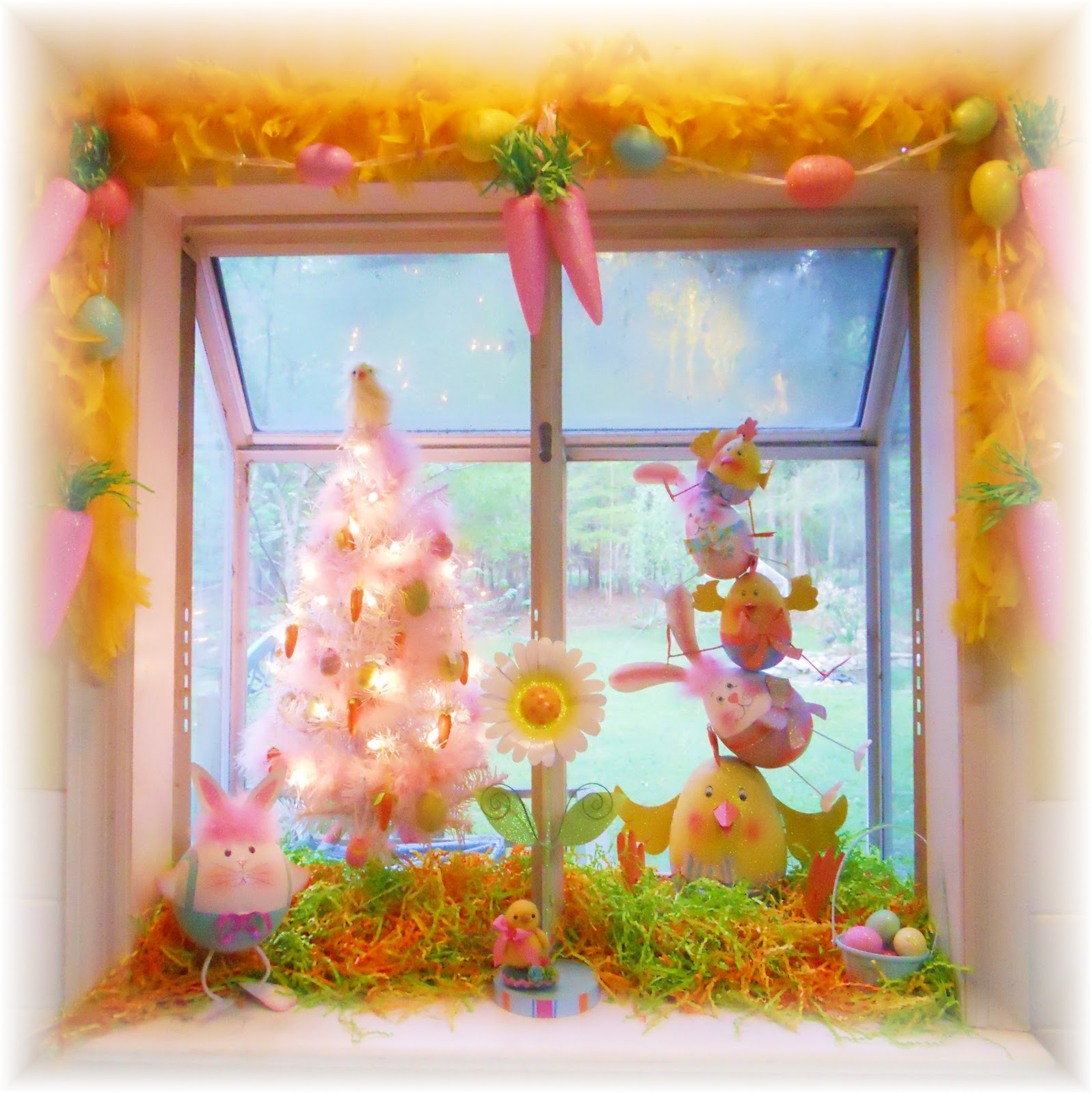 Kitchen Window Display: Bubbles Of Joy: Kitchen Window Easter Display