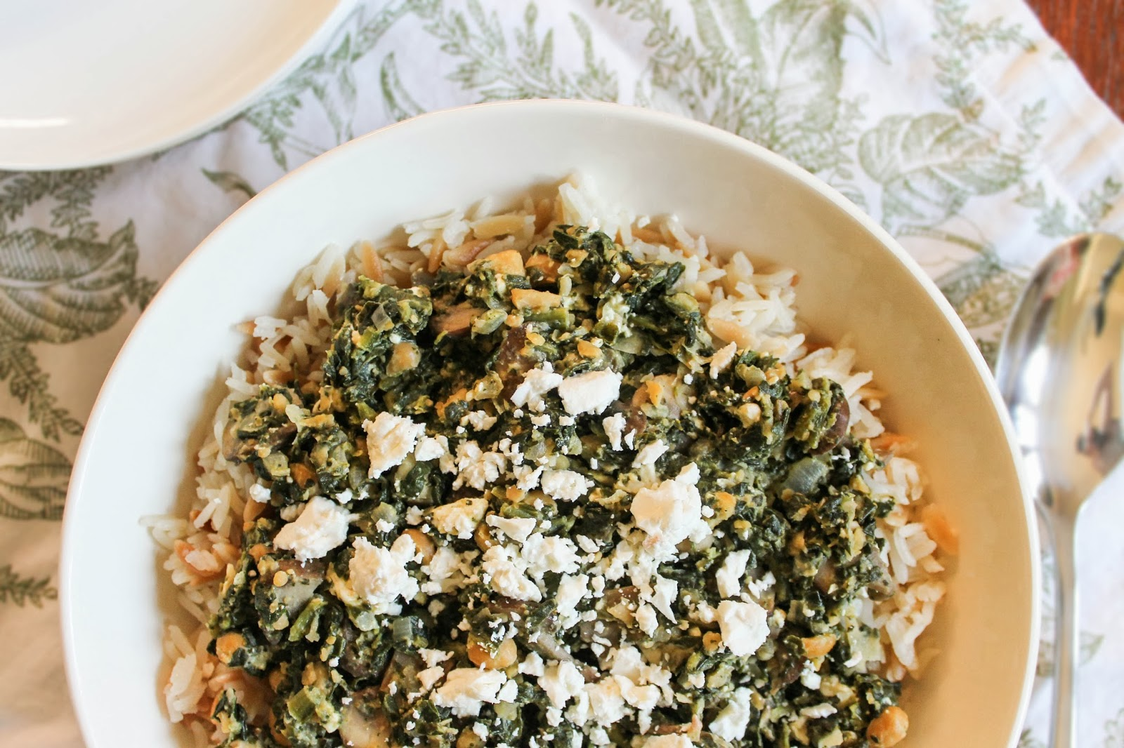 The Quixotic Table: Spinach and Chickpeas with Lemony Rice Pilaf