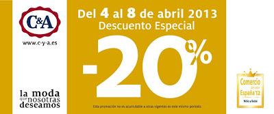 20% DESCUENTO EN C&A HASTA EL 8 DE ABRIL