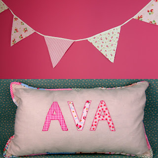 Personalised pillow with co-ordinating bunting