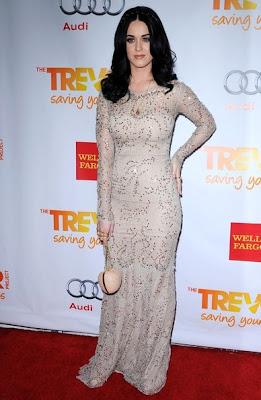 Katy Perry Sexy Beige Dress Trevor Live 2012