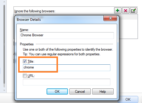 Browser details to ignore UFT